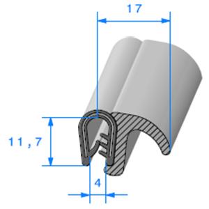Pince PCV Armé + Lèvre EPDM 1.5/3 mm   Vendu au Mètre