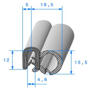 Pince EPDM Armé + Bulbe EPDM   [Accroche 2 à 4 mm]   Vendu au Mètre