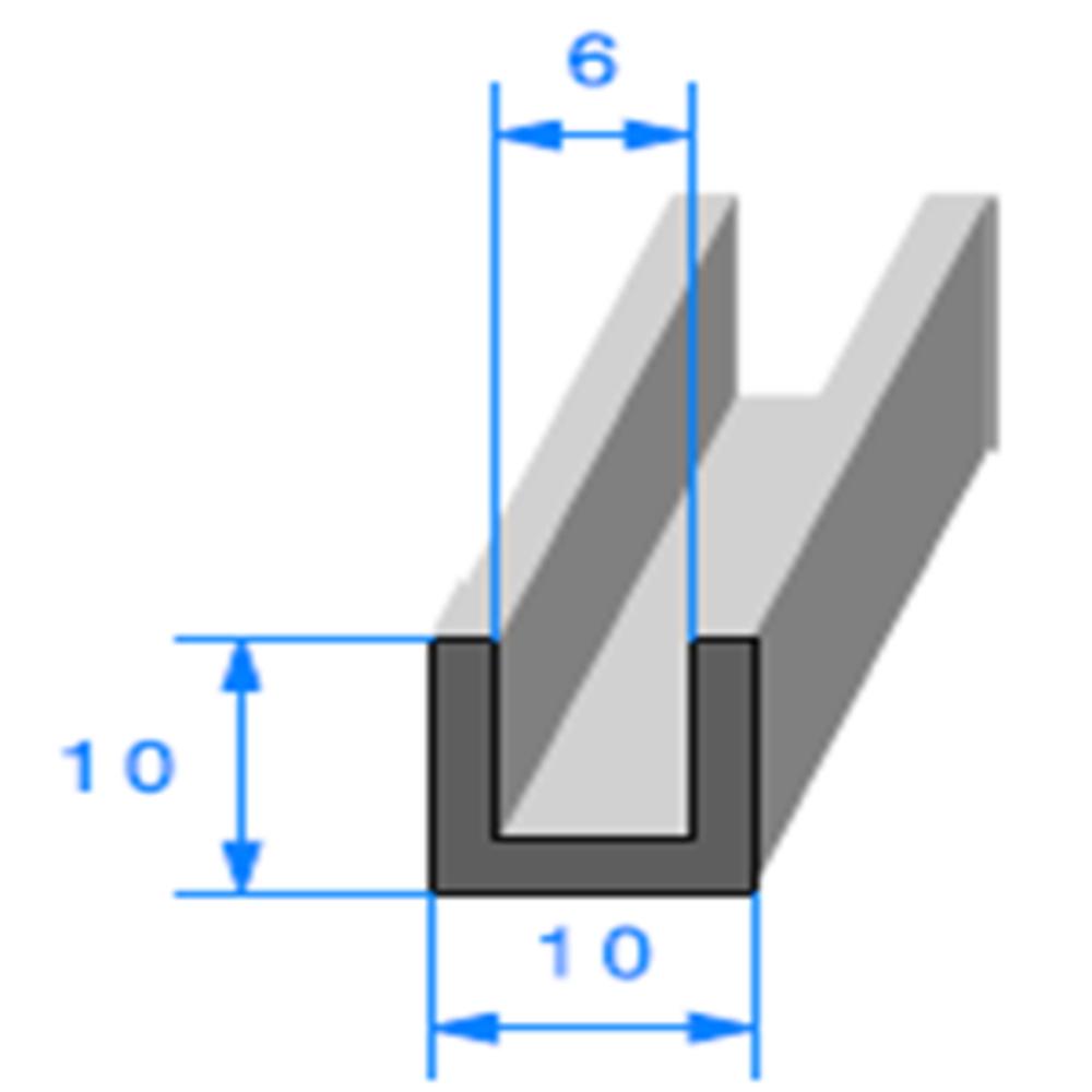 Compact en U   [10 x 10 mm]   [Accroche 6 mm]   Vendu au Mètre