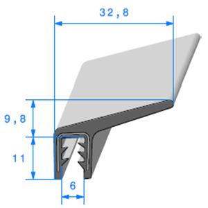 Pince EPDM Armé + Lèvre   [Accroche 4 à 5 mm]   Vendu au Mètre