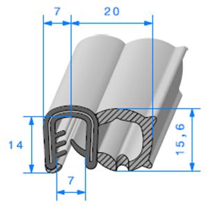 Pince EPDM Armé + Bulbe   [Accroche 5 à 6 mm]   Vendu au Mètre
