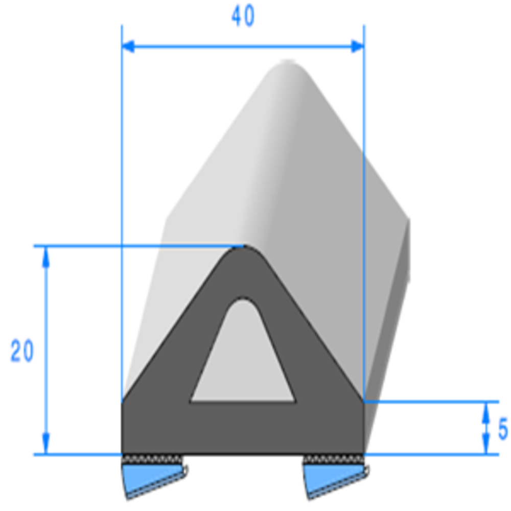Butoir ADH   [20 x 40 mm]   Vendu au Mètre