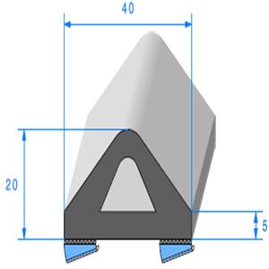 Butoir ADH   [40 x 20 mm]   Vendu au Mètre