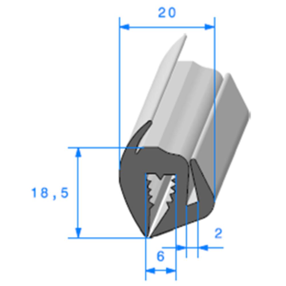 Joint de Fenêtre en S   [18,5 x 20 mm]   Vendu au Mètre