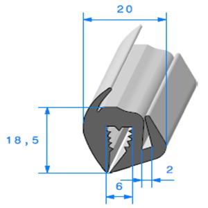 Joint de Fenêtre en S <br /> [18.5 x 20 mm] <br /> Vendu au Mètre<br />