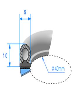 Semelle EPDM ADH + Bulbe EPDM <br /> [10 x 9 mm] <br /> Vendu au Mètre<br />