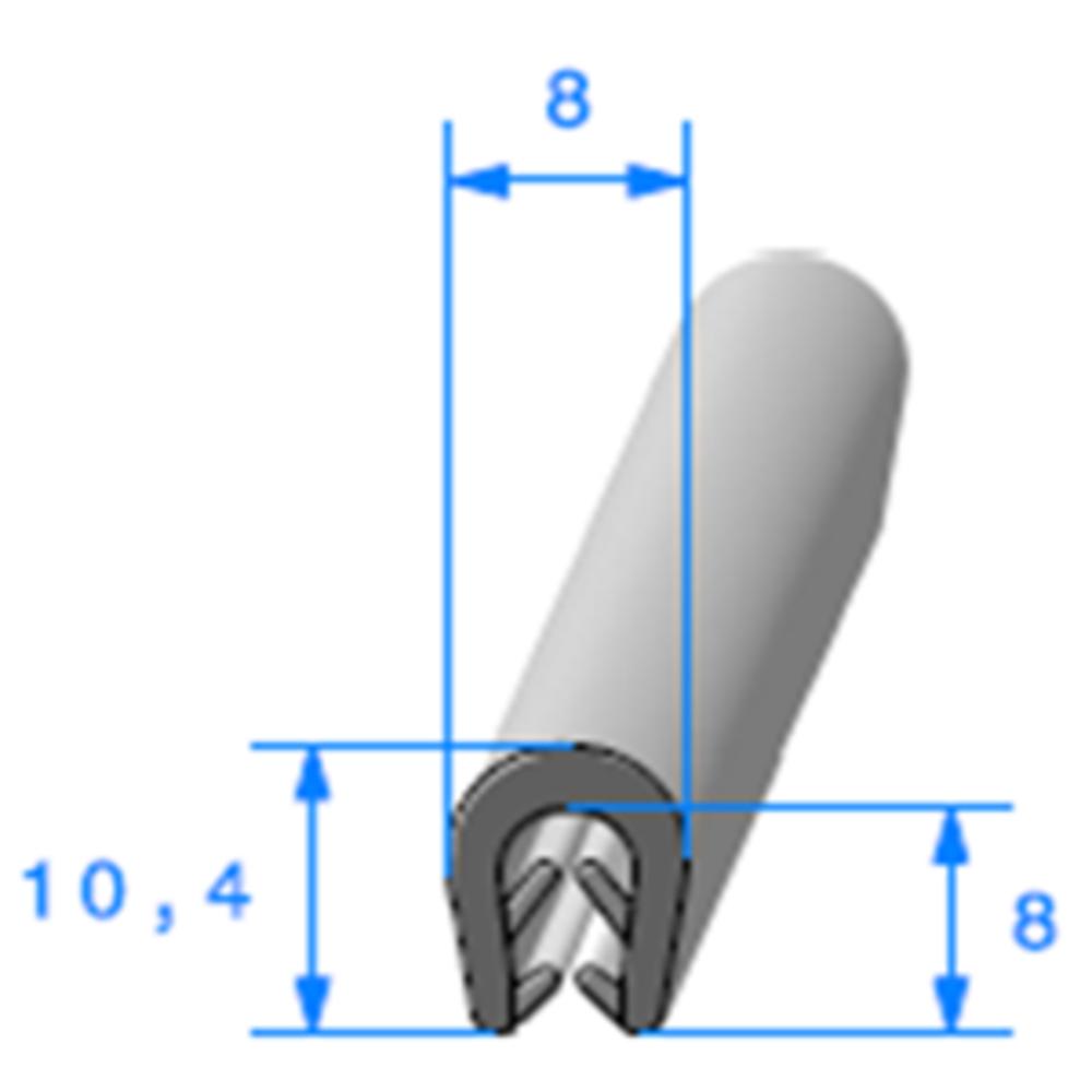 Pince EPDM Bi-Dureté   [Accroche 1,5 à 2,5 mm]   Vendu au Mètre