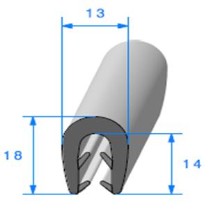 Pince EPDM Bi-Dureté   [Accroche 3 à 5 mm]   Vendu au Mètre