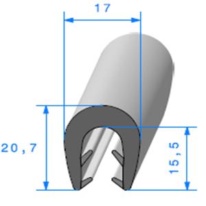 Pince EPDM Bi-Dureté   [Accroche 5 à 8 mm]   Vendu au Mètre