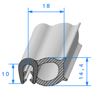 Pince EPDM + Bulbe EPDM   [2.5/3.5 mm]   Vendu au Mètre