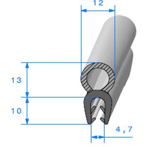 EPDM Compact en U <br /> [Accroche 2,5 à 3,5 mm] <br /> Vendu au Mètre<br />