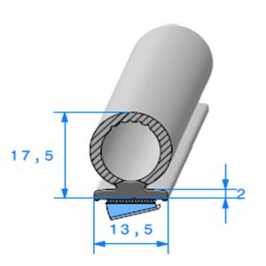 Semelle EPDM ADH + Bulbe EPDM [13.5x17.5 mm]   Vendu au Mètre