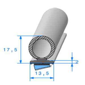 Semelle EPDM ADH + Bulbe EPDM   [17,5 x 13,5 mm]   Vendu au Mètre