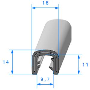 Pince EPDM Armé   [Accroche 7 à 8 mm]   Vendu au Mètre