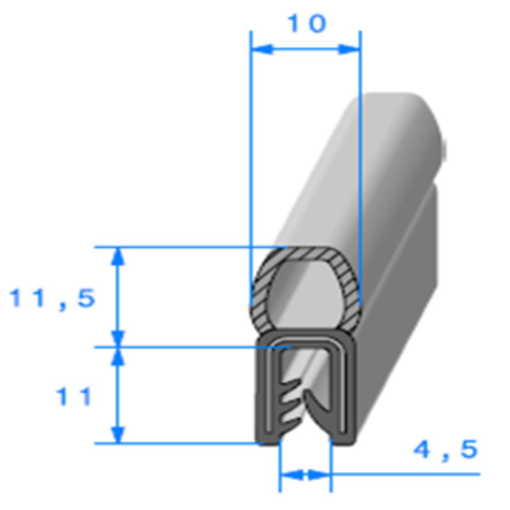 Pince EPDM Armé + Bulbe EPDM   [Accroche 1 à 3,5 mm]   Vendu au Mètre