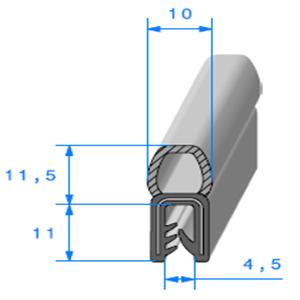 Pince EPDM Armé + Bulbe EPDM 1/3.5 mm   Vendu au Mètre