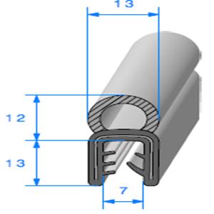 Pince EPDM Armé + Bulbe EPDM   [Accroche 3 à 5 mm]   Vendu au Mètre