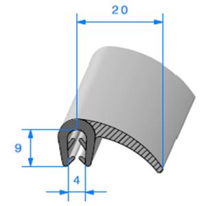 Pince EPDM Armé + Lèvre EPDM   [Accroche 1,5 à 2,5 mm]   Vendu au Mètre