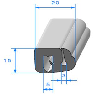 Joint de Fenêtre en S <br /> [15 x 20.6 mm] <br /> Vendu au Mètre<br />