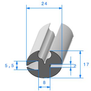 Joint de Fenêtre en H   [17 x 24 mm]   Vendu au Mètre