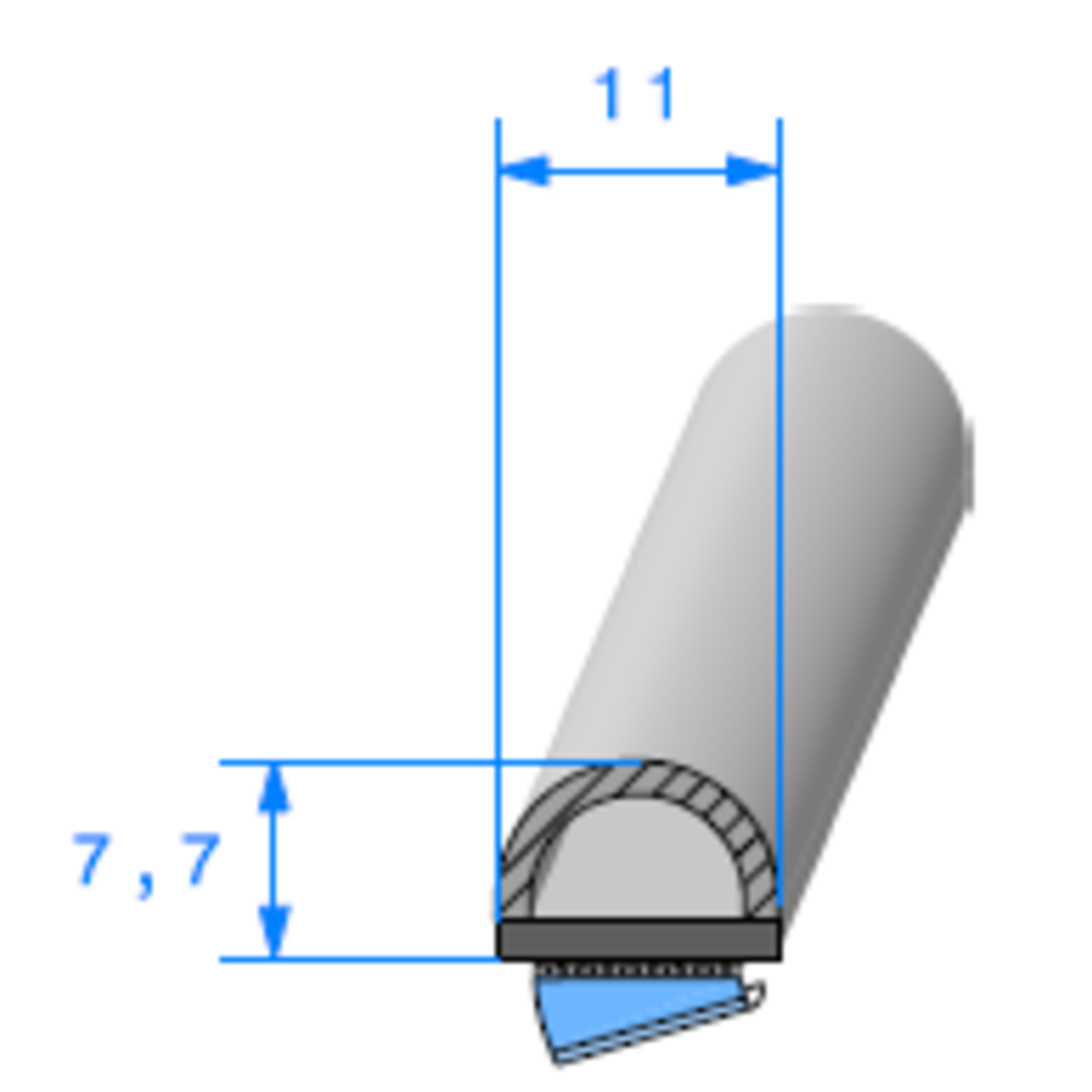Semelle EPDM ADH + Bulbe   [7.7 x 11 mm]   Vendu au Mètre