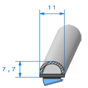 Semelle EPDM ADH + Bulbe   [7,7 x 11 mm]   Vendu au Mètre
