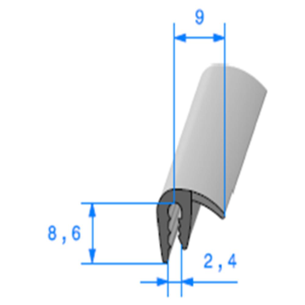 Pince EPDM + Bulbe EPDM   [1.5/2.5 mm]   Vendu au Mètre