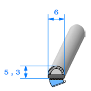 Semelle EPDM ADH + Bulbe EPDM   [5,3 x 6 mm]   Vendu au Mètre