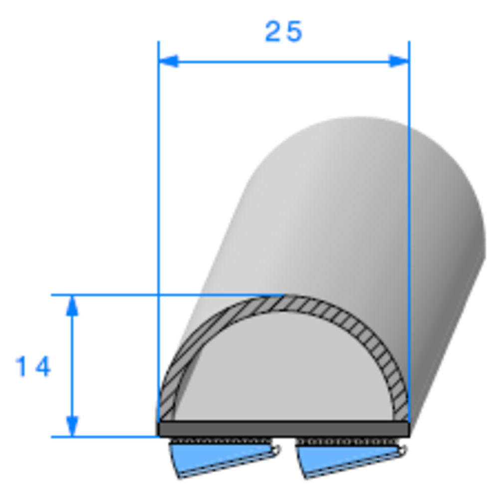 Semelle EPDM ADH + Bulbe [25x14 mm]   Vendu au Mètre