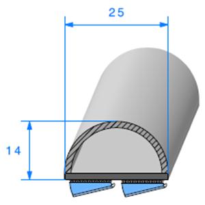 Semelle EPDM ADH + Bulbe <br /> [25 x 14 mm] <br /> Vendu au Mètre<br />