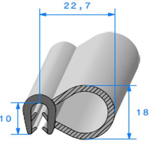Pince EPDM + Bulbe EPDM   [Accroche 2,5 à 3,5 mm]   Vendu au Mètre