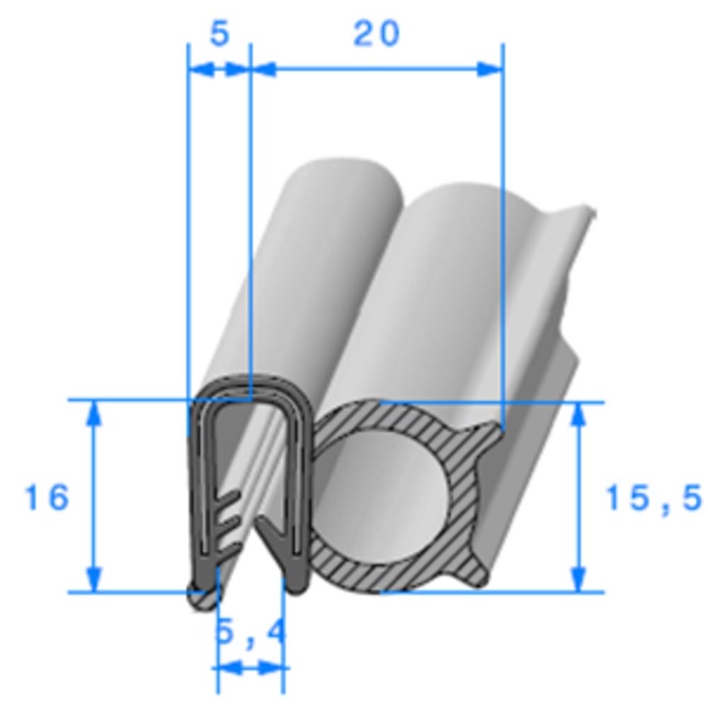 Pince EPDM Armé + Bulbe EPDM   [Accroche 2,5 à 5 mm]   Vendu au Mètre