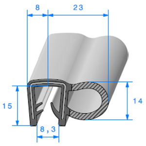 Pince EPDM Armé + Bulbe EPDM   [Accroche 7 à 9 mm]   Vendu au Mètre