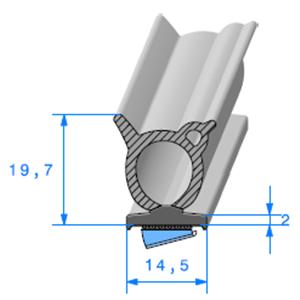 Semelle EPDM ADH + Bulbe EPDM <br /> [14.5 x 19.7 mm] <br /> Vendu au Mètre<br />