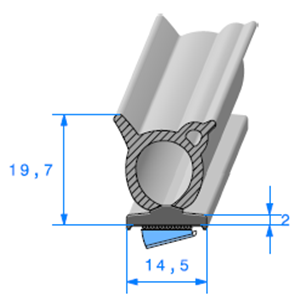 Semelle EPDM ADH + Bulbe EPDM   [19,7 x 18 mm]   Vendu au Mètre