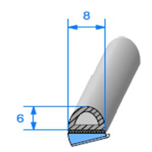 Prof ADH EPDM Cellulaire   [8 x 6 mm]   Vendu au Mètre