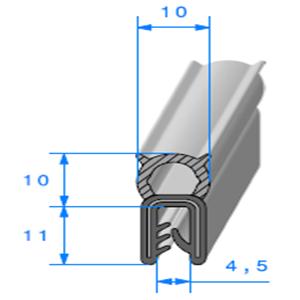 Pince EPDM Armé + Bulbe EPDM   [Accroche 1 à 3 mm]   Vendu au Mètre