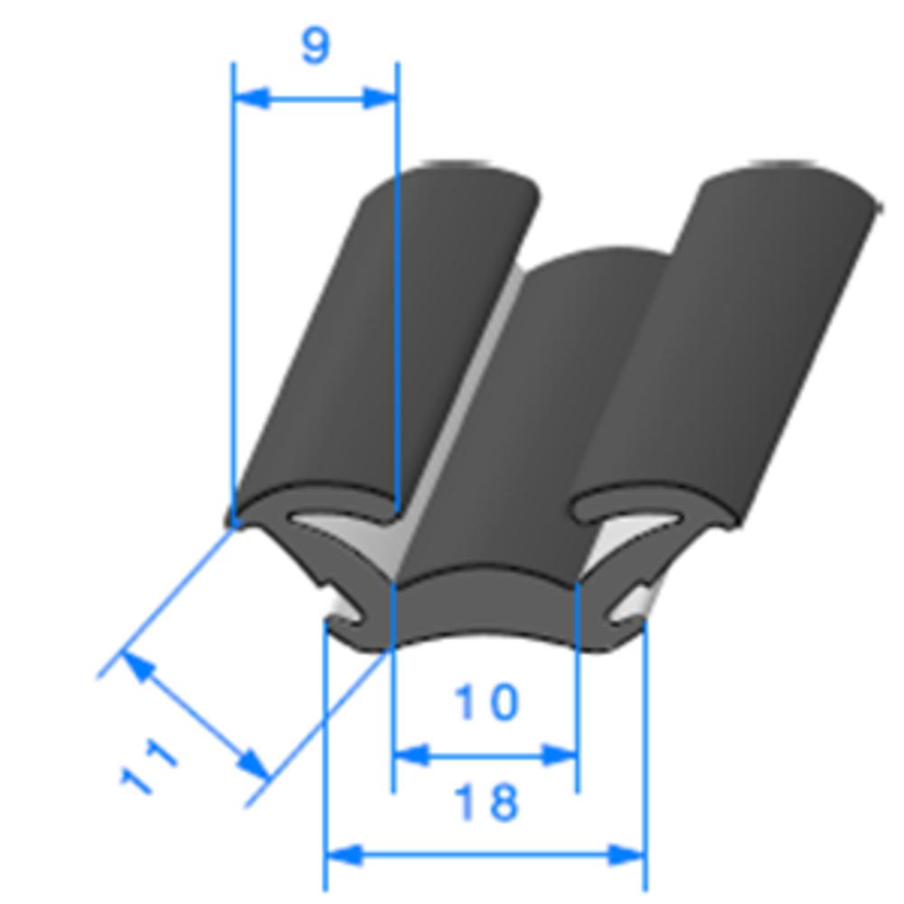 Coulisse Floquée   [11 x 18 mm]   Vendu au Mètre