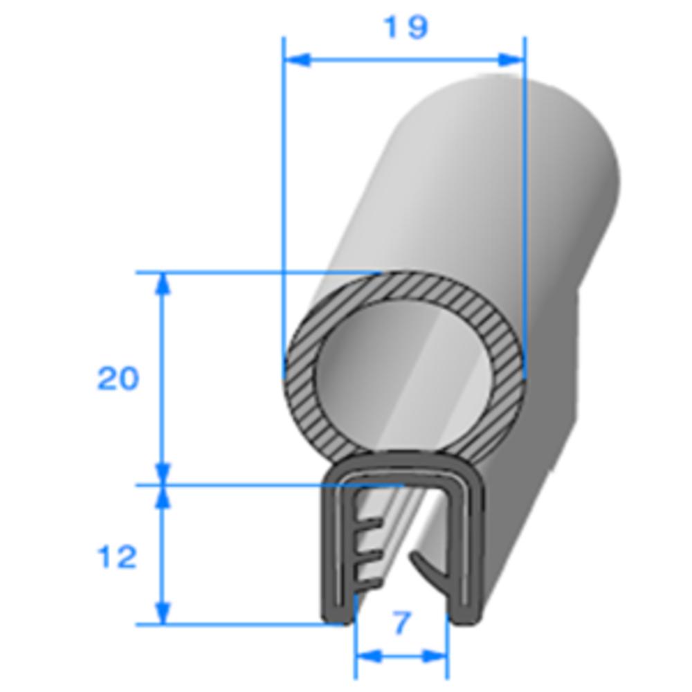Pince EPDM Armé + Bulbe EPDM   [Accroche 1,5 à 2,5 mm]   Vendu au Mètre