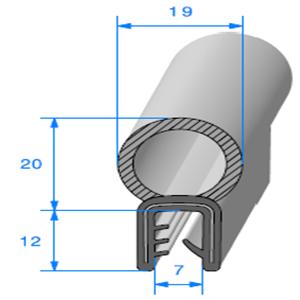 Pince EPDM Armé + Bulbe EPDM   [1.5/2.5 mm]   Vendu au Mètre