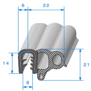 Pince EPDM Armé + Bulbe EPDM   [Accroche 1,5 à 3,5 mm]   Vendu au Mètre