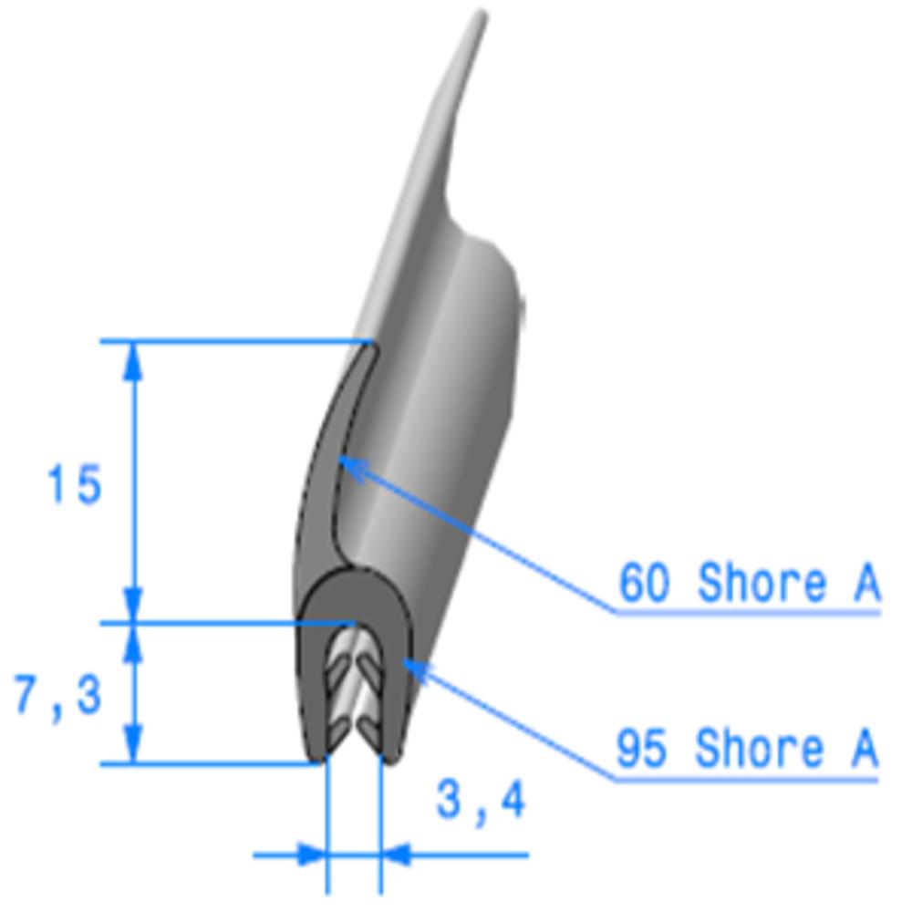 Pince EPDM + Lèvre EPDM   [1.5/2.5 mm]   Vendu au Mètre