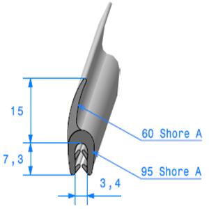 Pince EPDM + Lèvre EPDM   [Accroche 1,5 à 2,5 mm]   Vendu au Mètre