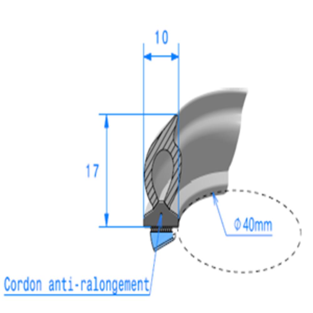 Semelle EPDM ADH + Bulbe EPDM   [17 x 10 mm]   Vendu au Mètre
