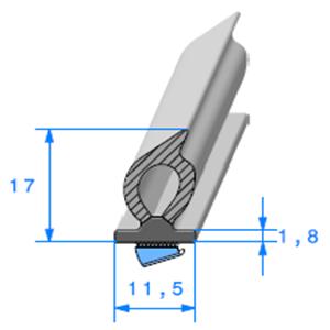Semelle EPDM ADH + Bulbe <br /> [11.5 x 17 mm] <br /> Vendu au Mètre<br />