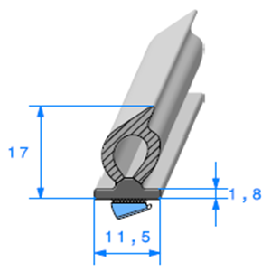 Semelle EPDM ADH + Bulbe   [17 x 11,5 mm]   Vendu au Mètre