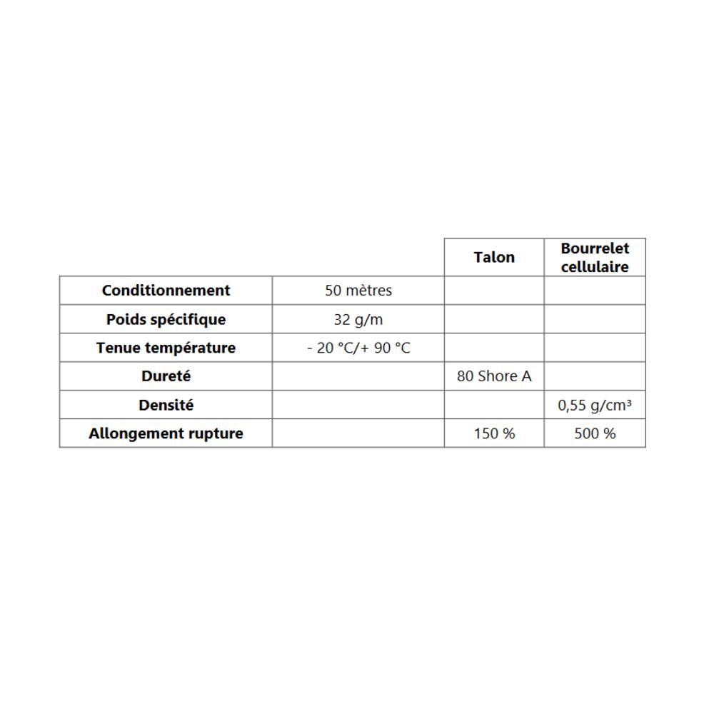 Talon EPDM + Bulbe EPDM   [8.7 x 13 mm]   Vendu au Mètre