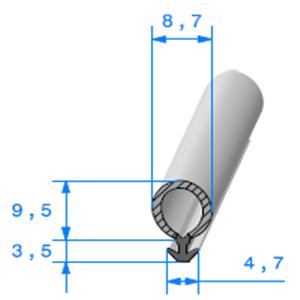 Talon EPDM + Bulbe EPDM <br /> [8.7 x 13 mm] <br /> Vendu au Mètre<br />