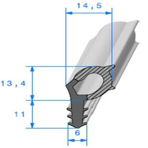 Talon EPDM + Bulbe EPDM   [24,4 x 14,5 mm]   Vendu au Mètre