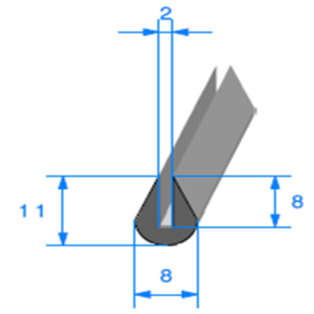 Compact en U   [11 x 8 mm]   [Accroche 2 mm]   Vendu au Mètre